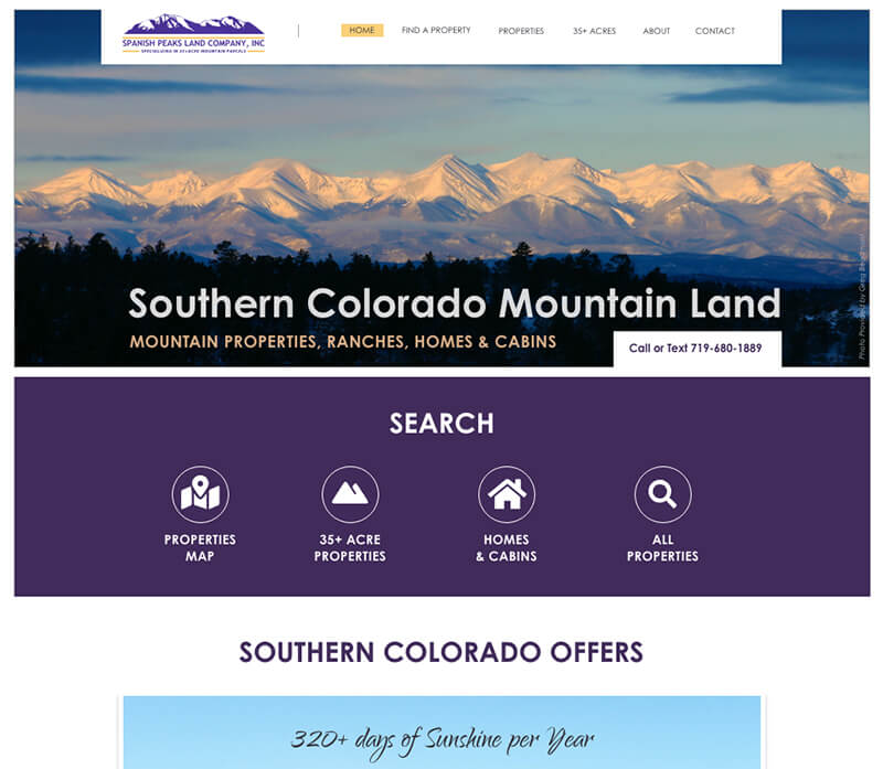 Website Design - Spanish Peaks